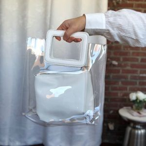 🆕Mabel White & Clear PVC Top Handle Tote Bag